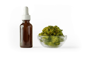 CBD Oil bottle nest to a small bowl of cannabis