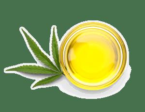 Cannabis oil in a small bowl next to a cannabis leaf